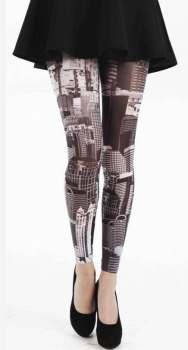 Skyline Printed Footless Tights