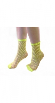 Large Fishnet Ankle Socks Yellow