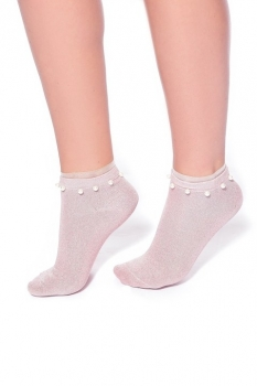 Lurex Sock with Pearls and Frill Pink