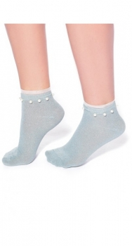 Lurex Sock with Pearls and Frill Teal Blue